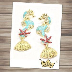 Enamel Seahorse Earrings with Rhinestones